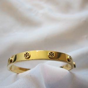 Tory Burch Gold Logo Metal Hinged Bracelet